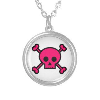 Hot Pink Skull & Crossbones Pendant