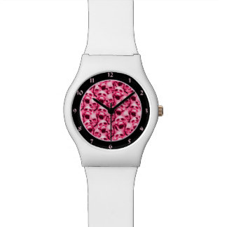 Hot Pink Skulls Wristwatch