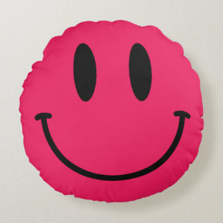 Hot Pink Smiley Face Round Throw Pillow