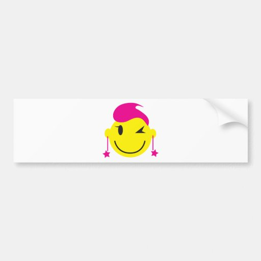 Hot pink smiley SMILE winking with stars Bumper Sticker
