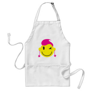 Hot pink smiley SMILE winking with stars Standard Apron