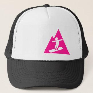 Hot Pink Snowboarding Trucker Hat