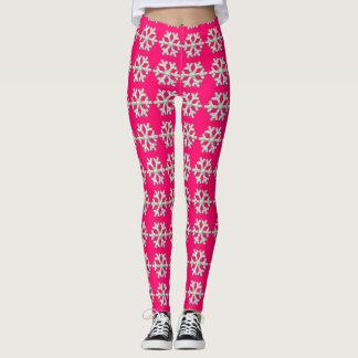 Hot Pink Snowflake and Heart Winter Leggings