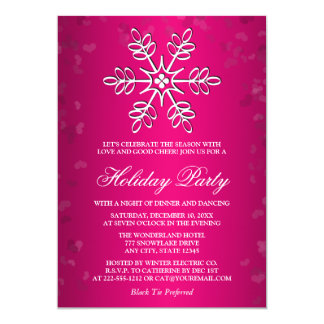 HOT PINK SNOWFLAKE HOLIDAY PARTY 13 CM X 18 CM INVITATION CARD