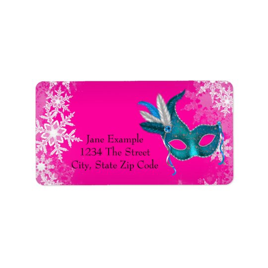 Hot Pink Snowflake Masquerade Party Address Labels