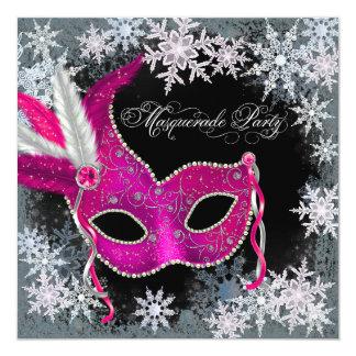 "Hot Pink Snowflake Masquerade Party Invitations 5.25"" Square Invitation Card"