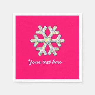 Hot Pink Snowflake Pink Christmas Paper Napkins