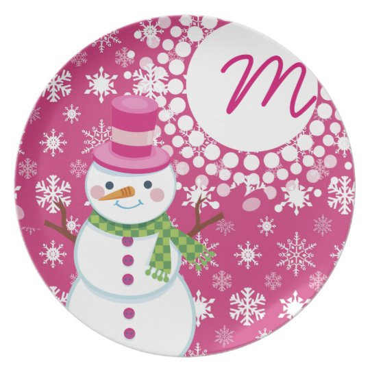 Hot Pink Snowman Monogrammed Christmas Plate