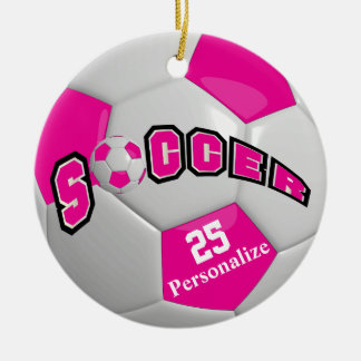 Hot Pink Soccer Ball | Personalize Christmas Ornament
