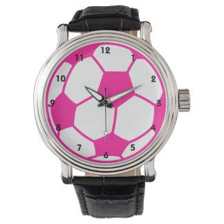 Hot Pink Soccer Ball Wrist Watch