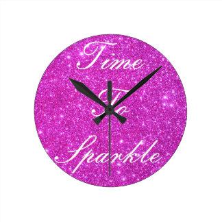 Hot Pink Sparkle Glittery CricketDiane Art Clock
