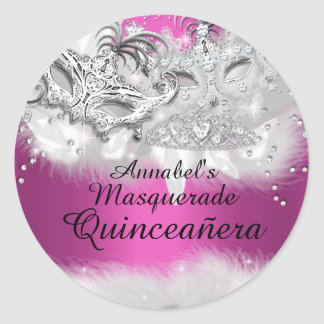 Hot Pink Sparkle Masquerade Quinceanera Sticker