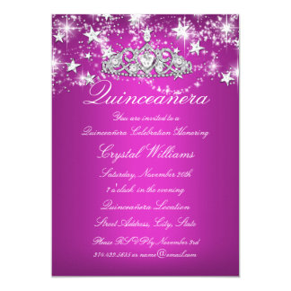 Hot Pink Sparkle Tiara Stars Quinceanera 13 Cm X 18 Cm Invitation Card