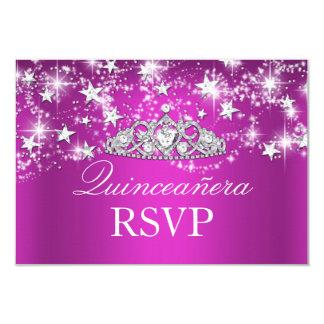 Hot Pink Sparkle Tiara & Stars Quinceanera RSVP 9 Cm X 13 Cm Invitation Card