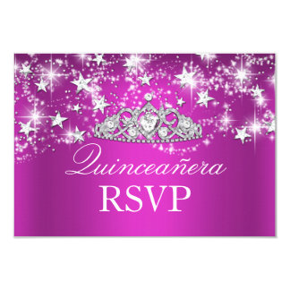 Hot Pink Sparkle Tiara & Stars Quinceanera RSVP Card