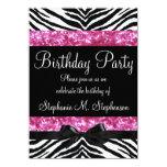Hot Pink Sparkle Zebra Girl's Birthday Custom Invitation