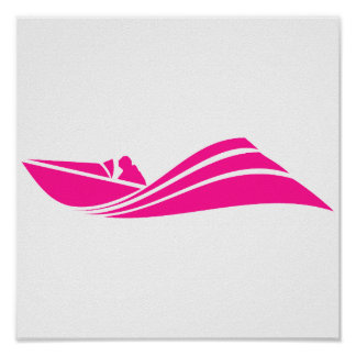 Hot Pink Speed Boat Poster