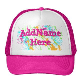 Hot Pink Splatter Personalized Cap