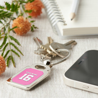 Hot Pink Sporty Team Jersey Silver-Colored Rectangle Key Ring