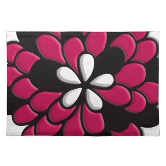 Hot Pink Stained Glass Flower Place Mats