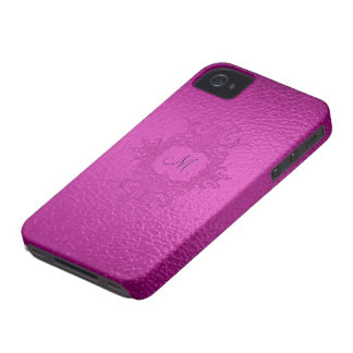 Hot Pink Stained Glass Look-Custom Monogram iPhone 4 Case-Mate Case