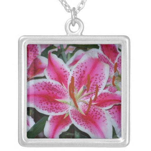 Hot Pink Stargazer Lily Necklace