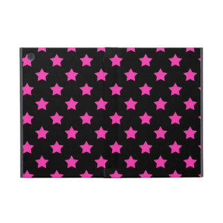 Hot Pink Stars on Black Background Pattern Case For iPad Mini