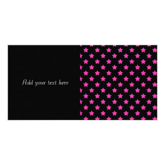 Hot Pink Stars on Black Background Pattern Picture Card