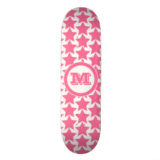 Hot Pink Stars Pattern & Monogram | Girls' Skateboard Deck