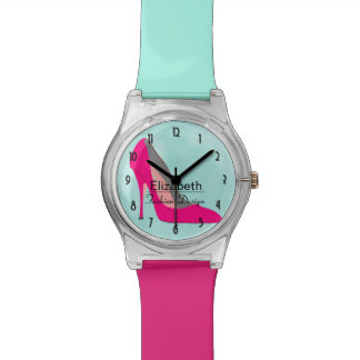 Hot Pink Stiletto High Heel Shoe Chic Personalized Watches