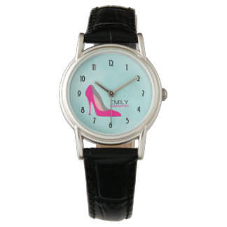 Hot Pink Stiletto High Heel Shoe Chic Personalized Wristwatch