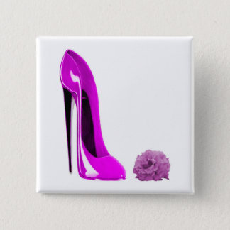 Hot Pink Stiletto Shoe and Rose 15 Cm Square Badge