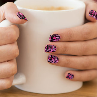Hot pink stripes and lines minx nail art