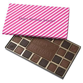 Hot Pink Stripes - Custom Happy Birthday Chocolate