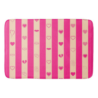 Hot Pink Stripes Modern Heart Pattern Bath Mat