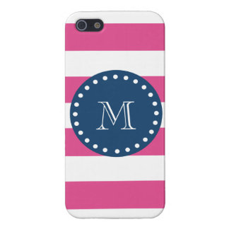 Hot Pink Stripes Pattern, Navy Blue Monogram Case For iPhone 5/5S