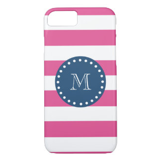 Hot Pink Stripes Pattern, Navy Blue Monogram iPhone 8/7 Case