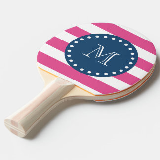 Hot Pink Stripes Pattern, Navy Blue Monogram Ping Pong Paddle