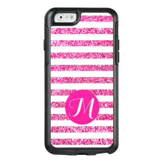 Hot Pink Stripes with Customizable Monogram OtterBox iPhone 6/6s Case
