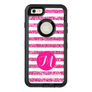 Hot Pink Stripes with Customizable Monogram OtterBox iPhone 6/6s Plus Case