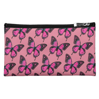 Hot Pink Suede Butterflies Makeup Bags