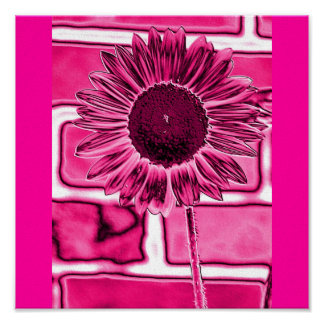 Hot Pink Sunflower Art Poster