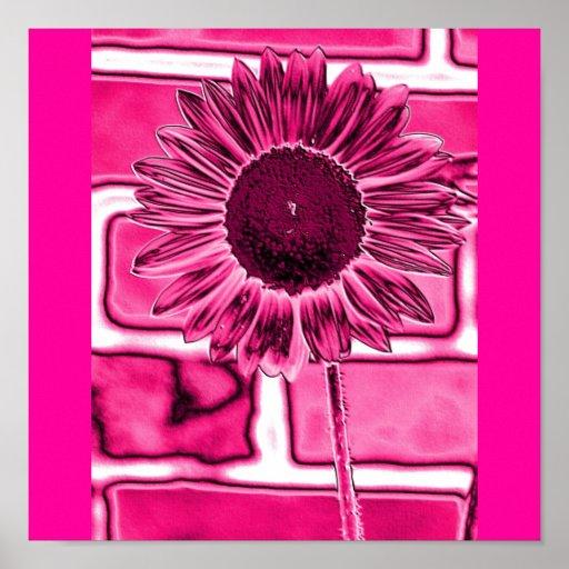 Hot Pink Sunflower Art Poster