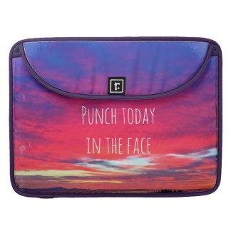 """Hot pink sunrise """"punch"""" photo Macbook Pro sleeve"""