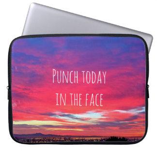 "Hot pink sunrise ""punch today"" photo laptop sleeve"