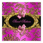 Hot Pink Sweet Sixteen 16 Damask Gold Black Personalised Invitation