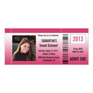 Hot Pink Sweet Sixteen Photo Ticket Invitation