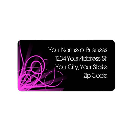 Hot Pink Swirl Address Labels