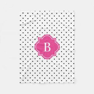 Hot Pink Swiss Dots | Monogram Fleece Blanket