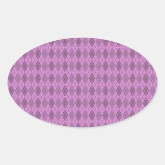 Hot pink,tartan,modern,pattern,girly,argyle,trendy oval sticker